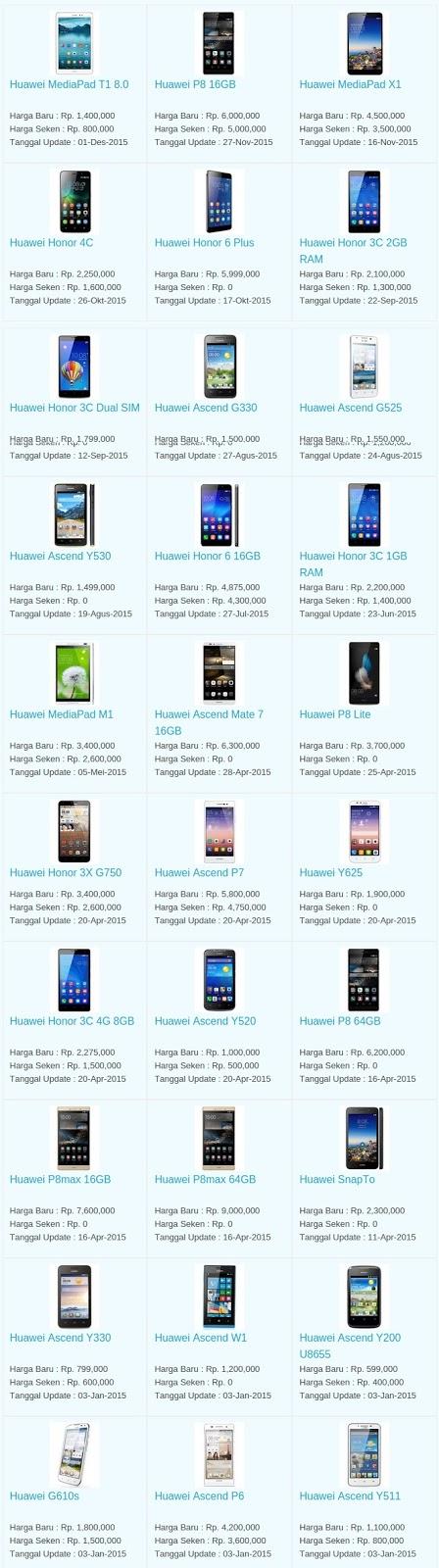 Daftar Harga Hp Huawei Januari 2016