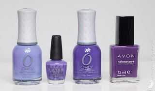 Orly Cashmere Cardigan, OPI Lost My Bikini in Molokini, Orly Charged Up, Avon Caliente Couture.