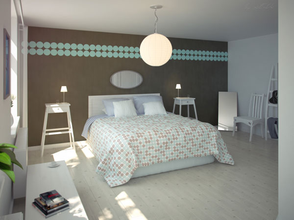 bed room interior wallpaers