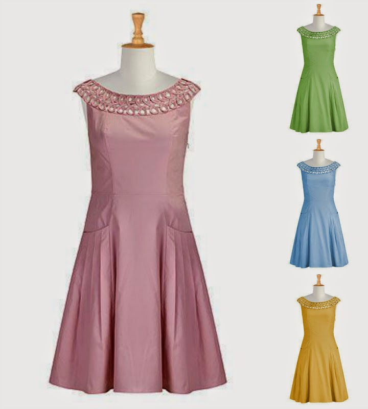 Eshakti Anastastia dress, cameo pink, apple green, blue, mustard, yellow, cotton, fit and flare, figure eight neckline, vintage style, customizable fashion