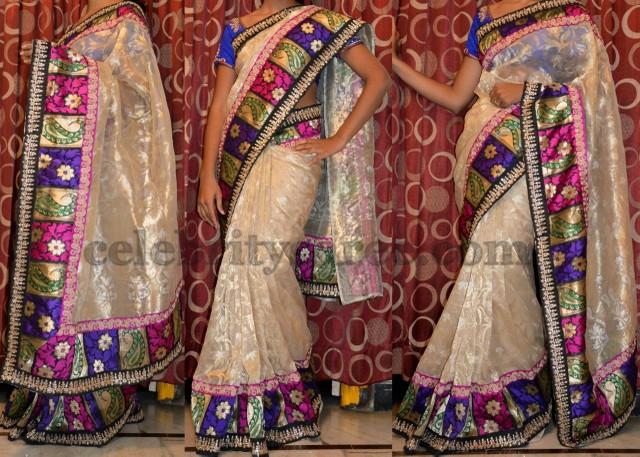 Gold Banaras Jute Saree
