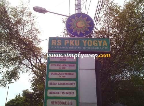 Plang Nama RS PKU Muhammadiyah Jogjakarta