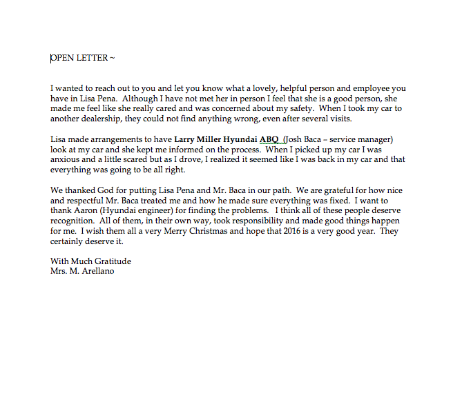 Larry H. Miller Hyundai Albuquerque | Letter from a Customer ...