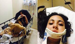 A modelo Jennifer Pamplona sofreu um acidente de carro e machucou o pescoço e teve queimadura na mão direita decorrente ao uso de bebida alcoólica que misturou com remédios.O acidente aconteceu  na madrugada do sábado (4). Segundo o R7, Jennifer estava muito triste pela morte de seu namorado o Ken humano.