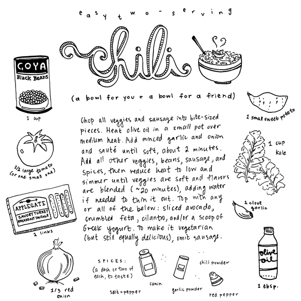 Two-Person Black Bean & Sweet Potato Chili || hand-drawn recipe at pantopaper.com