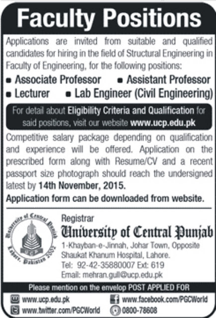 Jobs in University of Central Punjab Lahore
