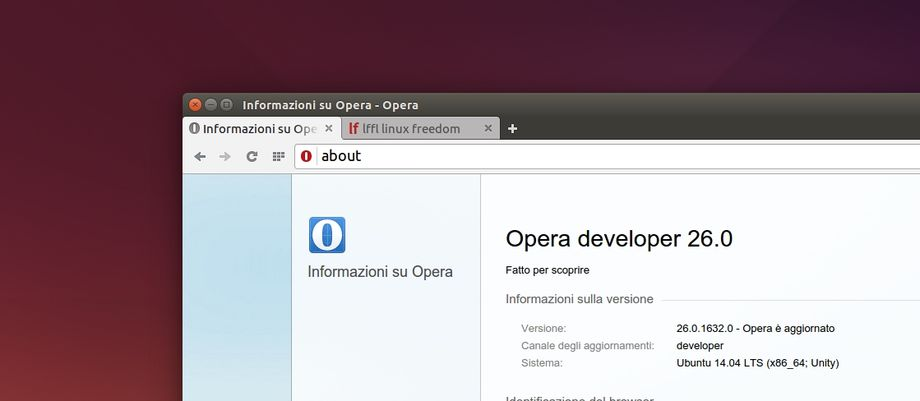 Opera Developer 26 in Ubuntu