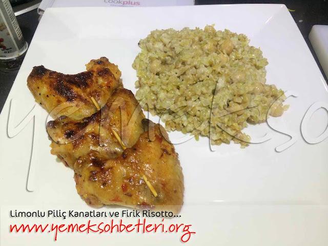 pilavlarmakarnalar, piliç kanat, firik pilavı, firik risotto, risotto nasıl yapılır, limonlu tavuk sosu, akşam menüsü, akşam yemeği,