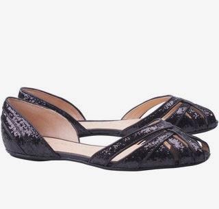 sandálias rasteira peep toe em glitter preto Luiza Barcelos inverno 2014
