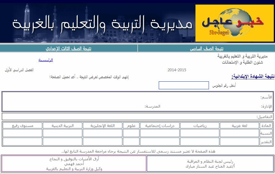 مبرووك .. الان نتيجة الفصل الدراسى الاول للشهادة الابتدائية بمحافظة الغربية لعام 2015