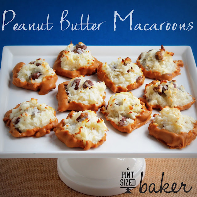 What's better than a Coconut Macaroon? A Peanut Butter Macaroon! These easy cookies are loaded with PB candies and dipped into peanut butter candy coating.