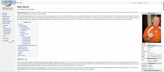 Wikipedia claimed Mack Brown was athletic director of Virginia Tech for one brief shining moment.