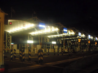 Calais check-in lanes, late one night