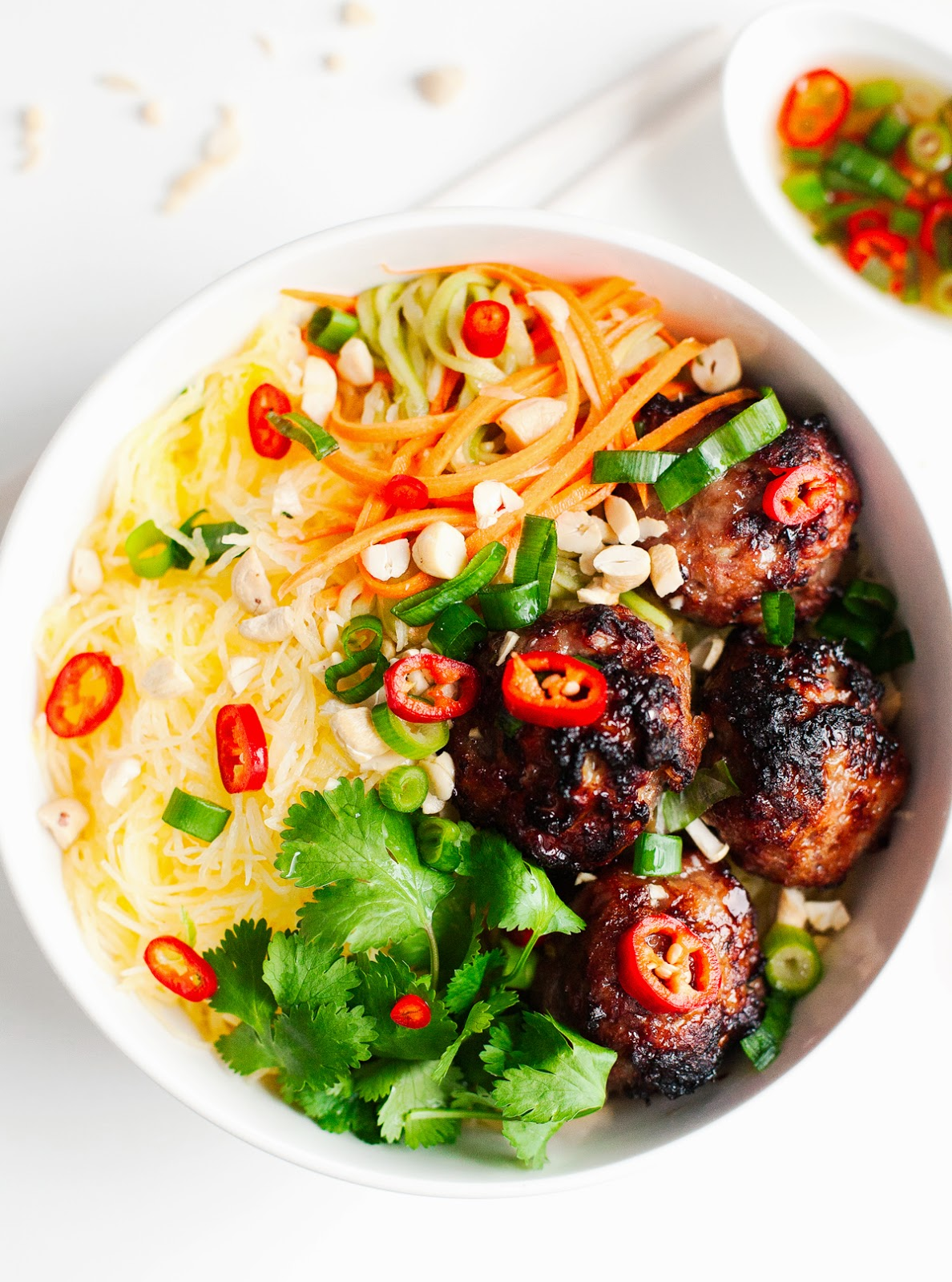 "Vietnamese Caramelized Pork Meatball ""Vermicelli"" Bowl"