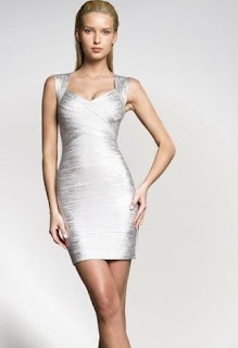 Vestido Bandage Prata. Vestido barato e importado.