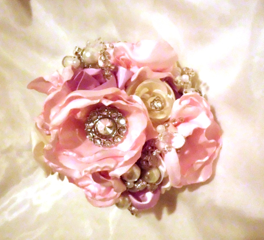 Have It All Brooch Bridal Bouquet Pearls Crystals Fabric Flower Bouquet Weddings Bridesmaid