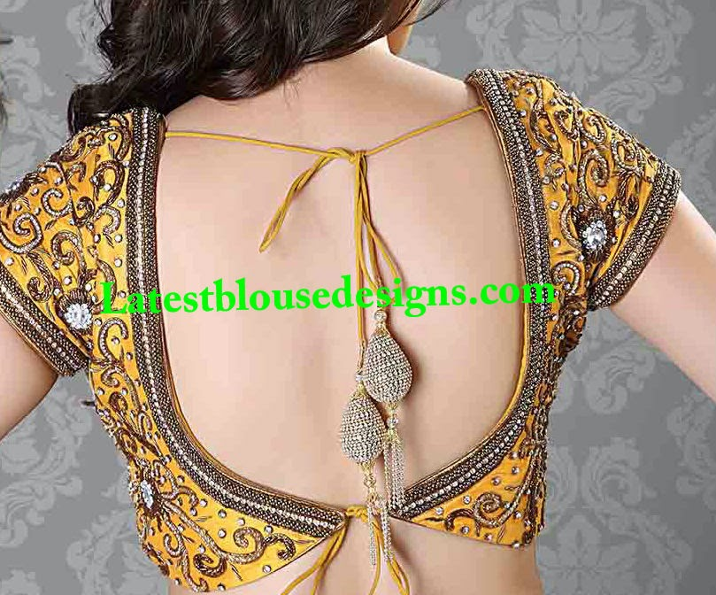 stone work backless tie back blouse