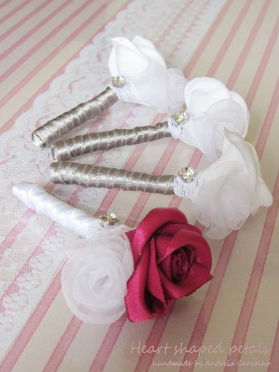 Fabric boutonnieres wedding accessories