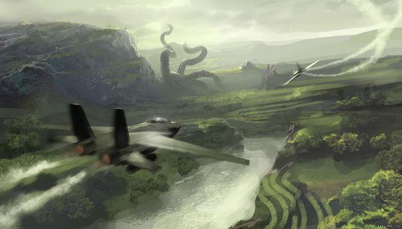 Geoffroy Thoorens djahalland deviantart ilustrações arte conceitual guerras futuristas batalhas tecnologia Ameaça gigante