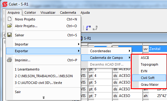 Sistema Colet para Topografia, download Grátis!