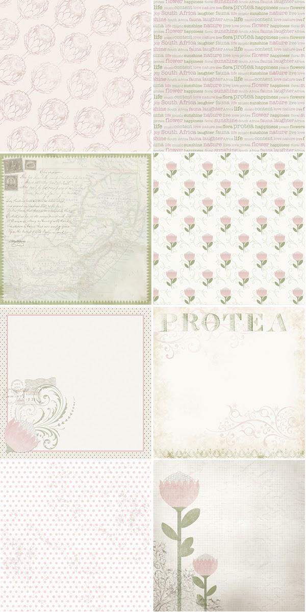Happiness is... Custom Designed Protea Themed Scrapbooking Pack - scrapbooking sheets