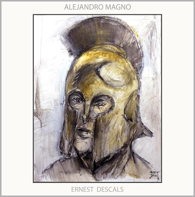 ALEJANDRO MAGNO-PINTURA-CASCO-REY-ARTE-MACEDONIA-PERSONAJES-HISTORIA-ARTISTA-PINTOR-ERNEST DESCALS-