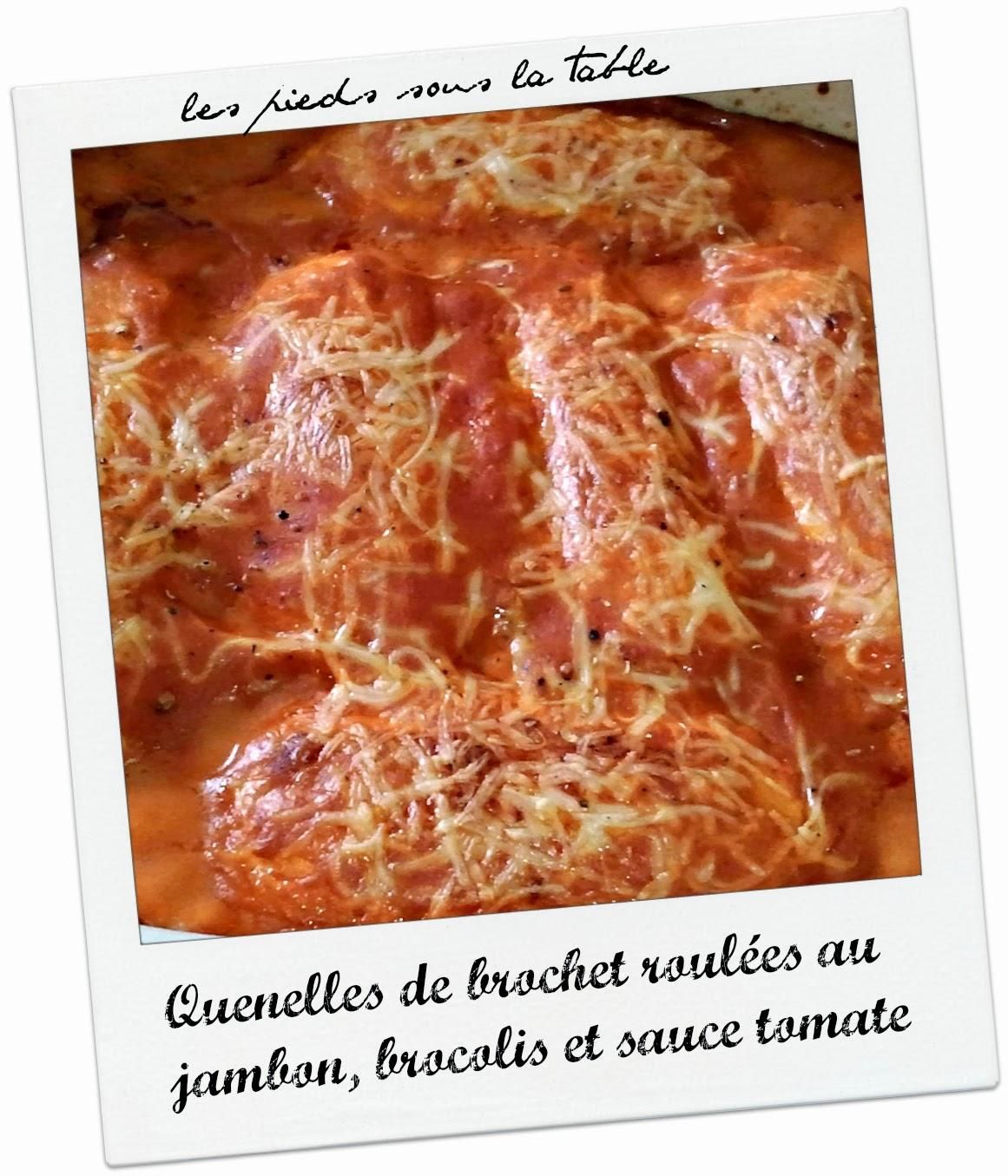 Quenelles de brochet roulées au jambon, brocolis et sauce tomate