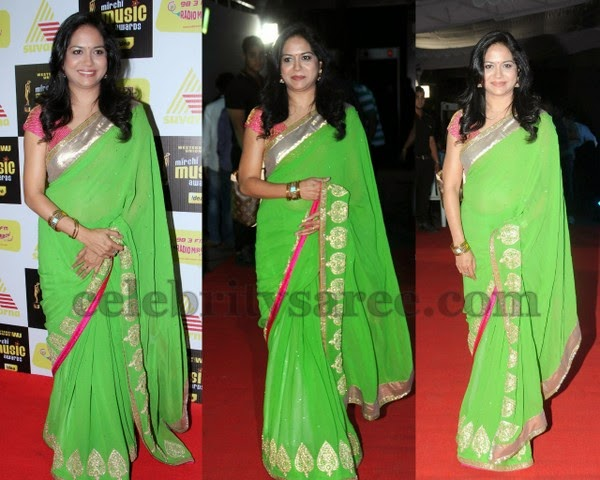 Singer Sunitha Fancy Green Saree