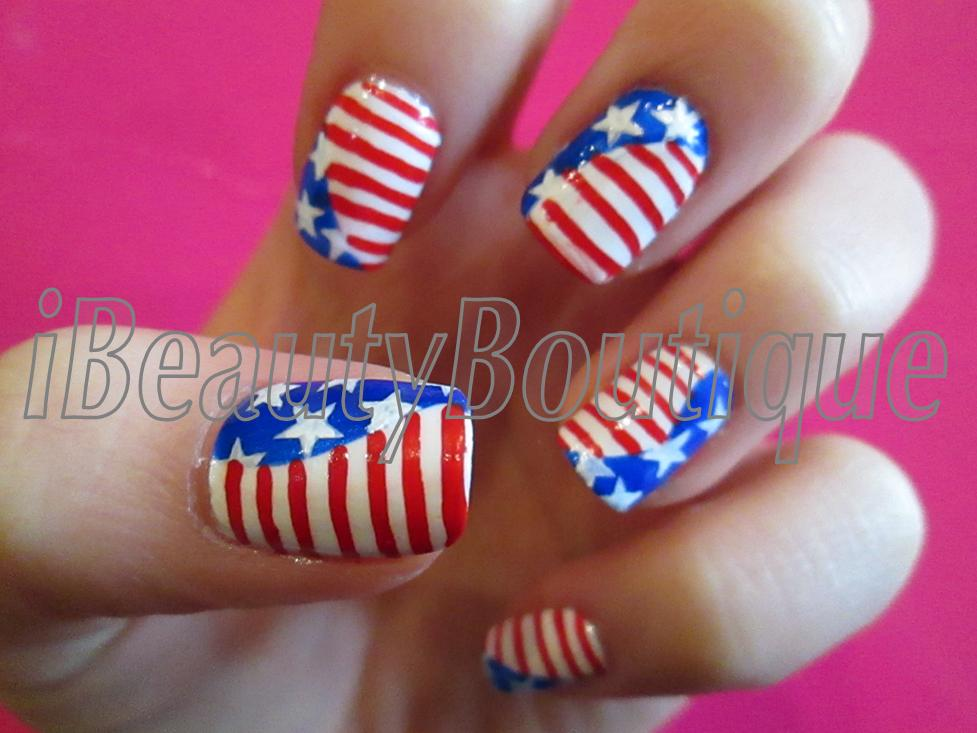 Ibeautyboutique 4th of july nails for 4th of july nail art decoration flag