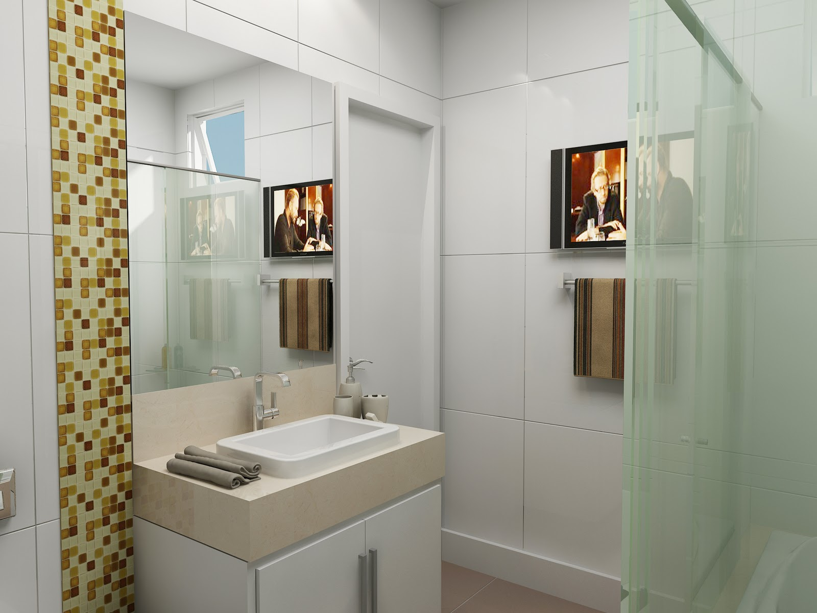 decoracao banheiro quadrado: banheiro mas colocando dois nichos  #9C7A30 1600 1200