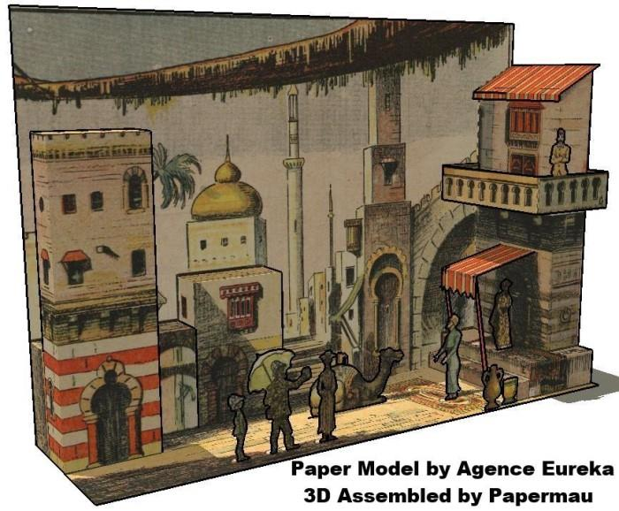 Papermau a street at cairo egypt vintage diorama paper for Cairo mobel