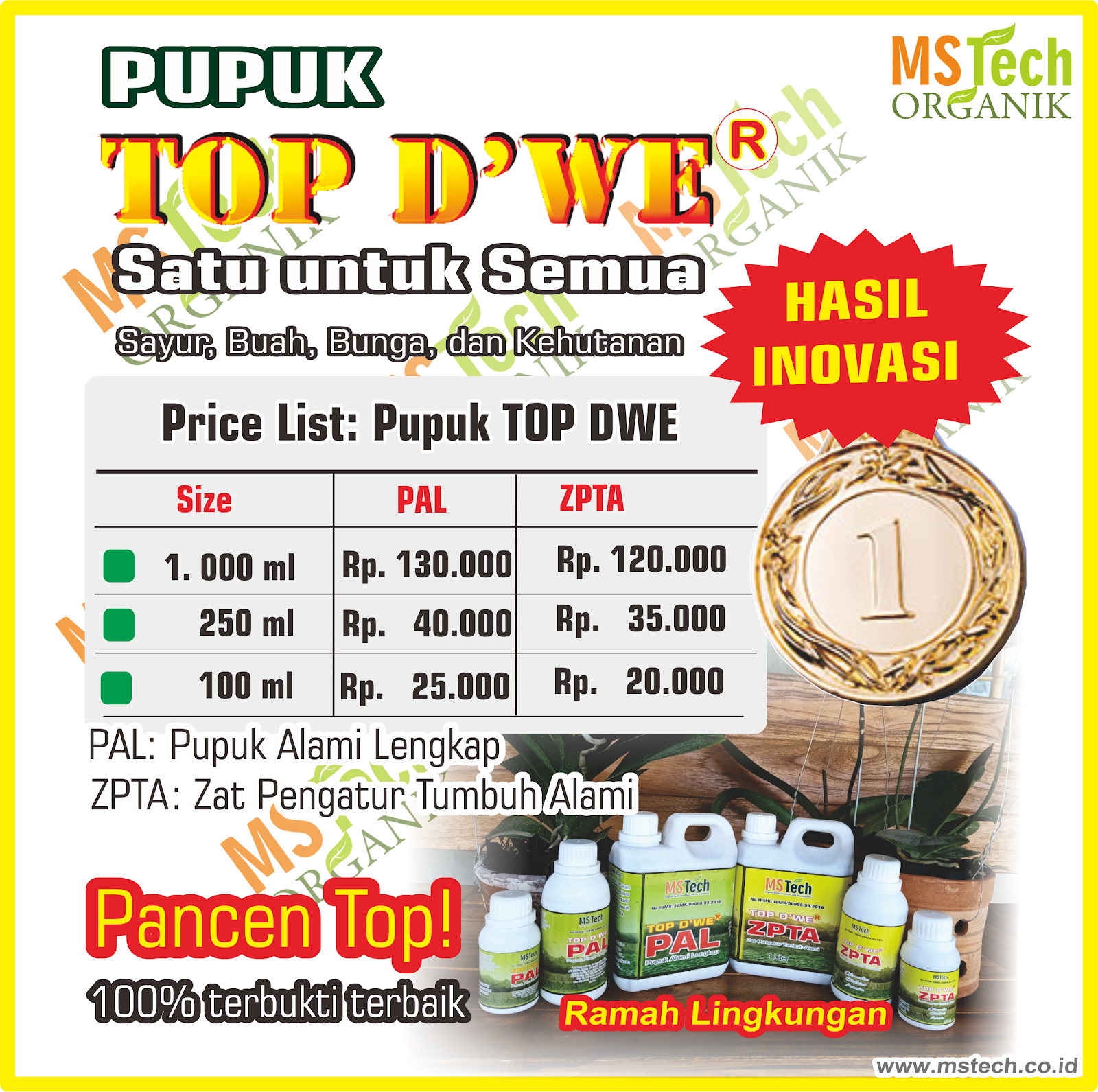 PRICE LIST PUPUK TOP DWE