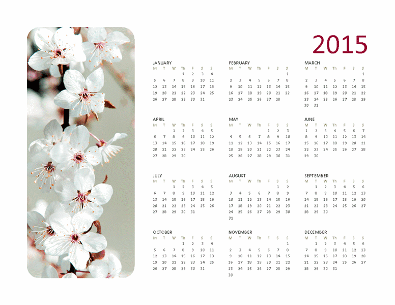 2015 photo calendar, monday to sunday, Publisher