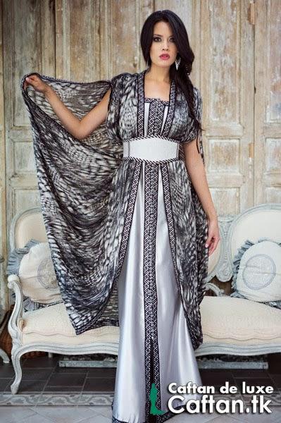 Caftan marocain noire argent haute couture