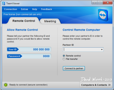 Team Viewer, remote control, Your ID, Password, 4 diget, partner ID, 9 diget, connect, how to