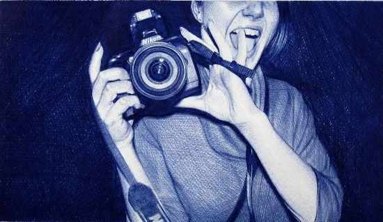 juan francisco casas pinturas ilustrações mulheres hiper-realistas caneta bic festas diversão bebida