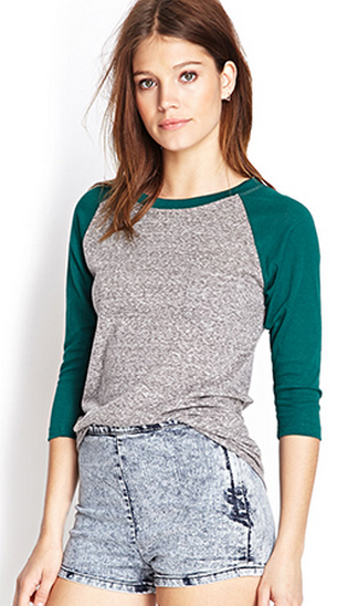 Green and grey baseball style burnout tee from Forever21