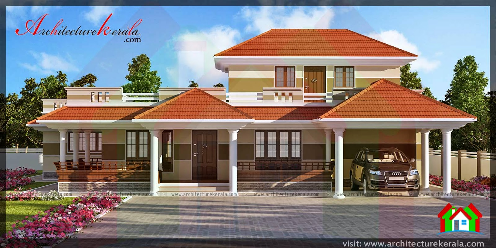 Traditional style kerala house in 3000 sqft architecture for Elevation of kerala homes