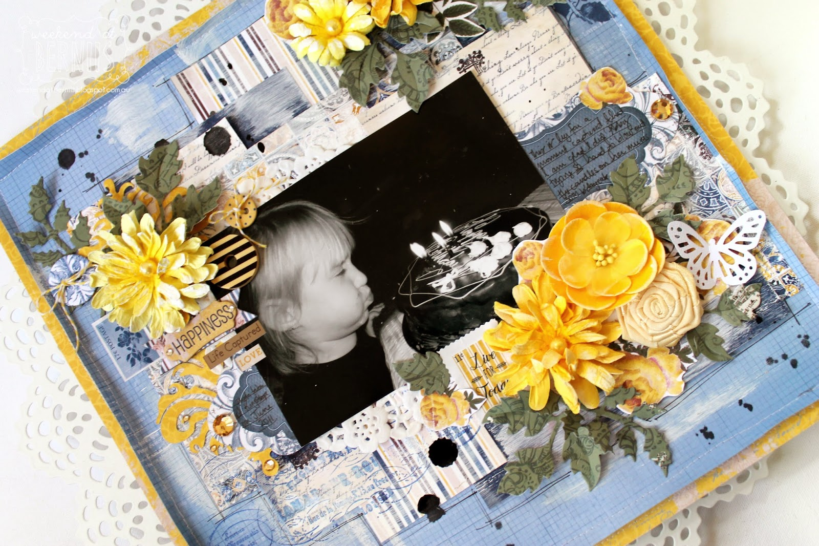 Happiness layout by Bernii Miller using the Rose Cafe Collection for BoBunny.