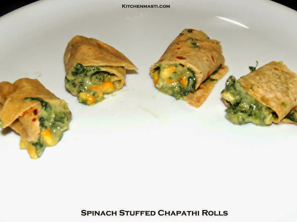 spinach stuffing chapathi rolls