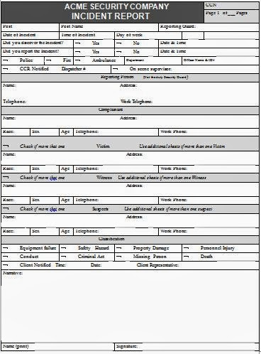 Incident Report Template For Security Guard. Security Officer