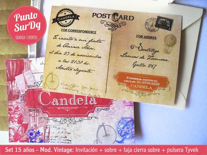 invitaciones 15 años vintage