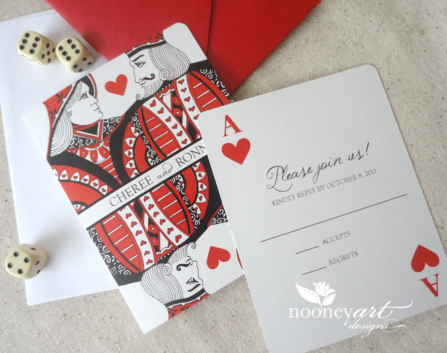 Las Vegas Wedding Playing Card Wedding Invitations and Save The – Playing Card Invitation