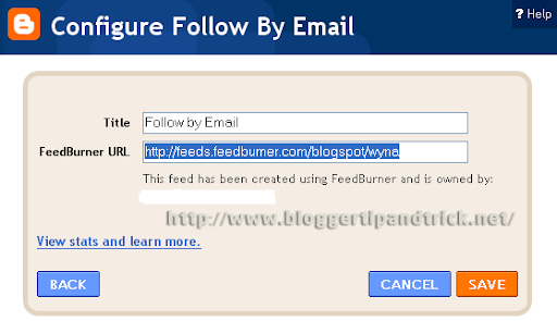 Enter your FeedBurner URL