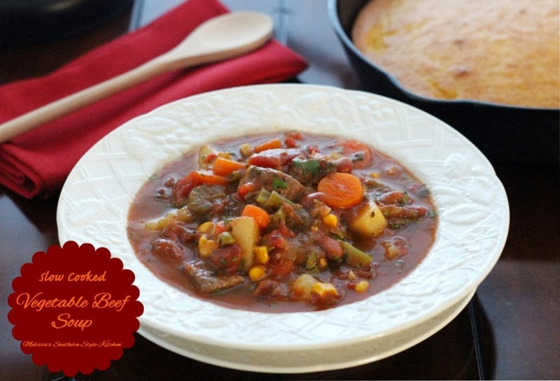 Slow Cooked Vegetable Beef Soup - melissassouthernstylekitchen.com
