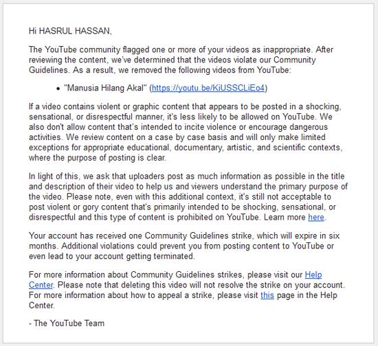 Video Dibuang Langgar Terma YouTube