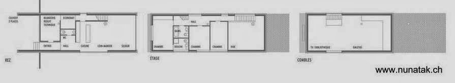 Planos arquitectónicos de plantas de casa contemporánea en Suiza