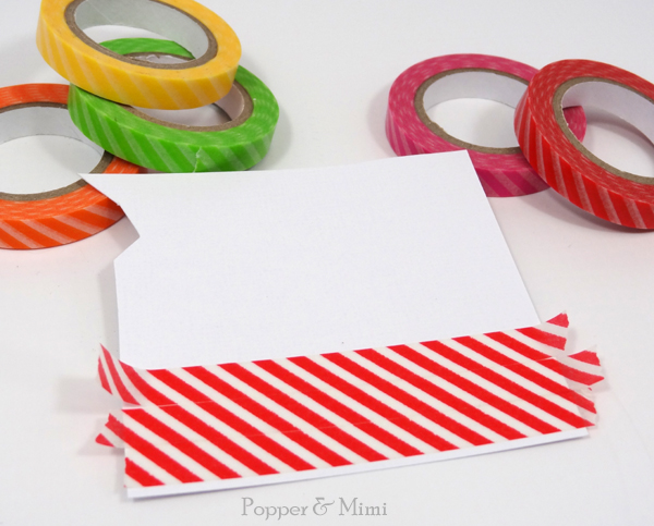 Adhere washi tape to paper and die cut | popperandmimi.com