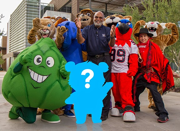 image of MCCCD Chancellor Rufus Glasper surrounded by Maricopa Colleges mascots and a sillouhette of a bear mascot with a question mark in it.