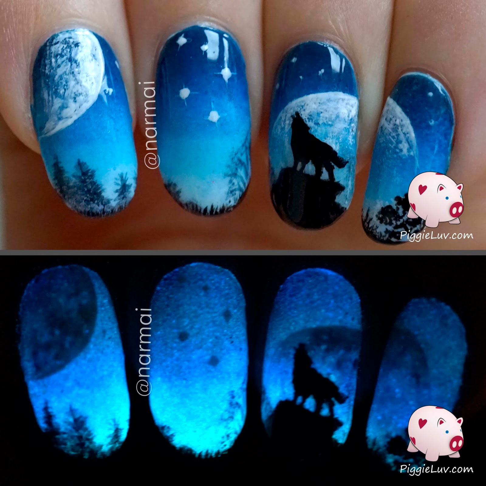 PiggieLuv: Galaxy wolf twin nails (glow in the dark)